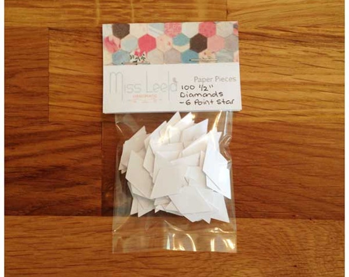 100 Half Inch Diamond (6 Pointed Star) Paper Pieces - English Paper Piecing