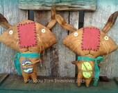 Primitive Folk Art Big Head Bunny Set--Shelf Sitter--Tucks--Easter--Hafair Team--MADE TO ORDER