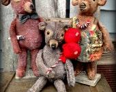 Primitive Folk Art--The Three Bears--Dolls, Teddy Bears, Mama, Papa, Baby Bear, Hafair Team-FAAP