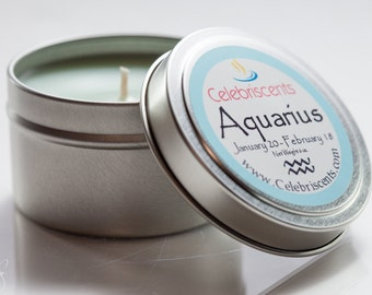 AQUARIUS Zodiac Scented Aromatherapy Candle.  We offer alluring Astrological Scents that describe your Zodiac's personality.