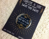 Wedding Save The Date Magnets Art Deco inspired Design (Complete With Backing Postcards)