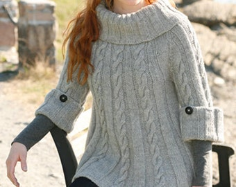 Sweater for women, wool, alpaca, cable, handmade knitting