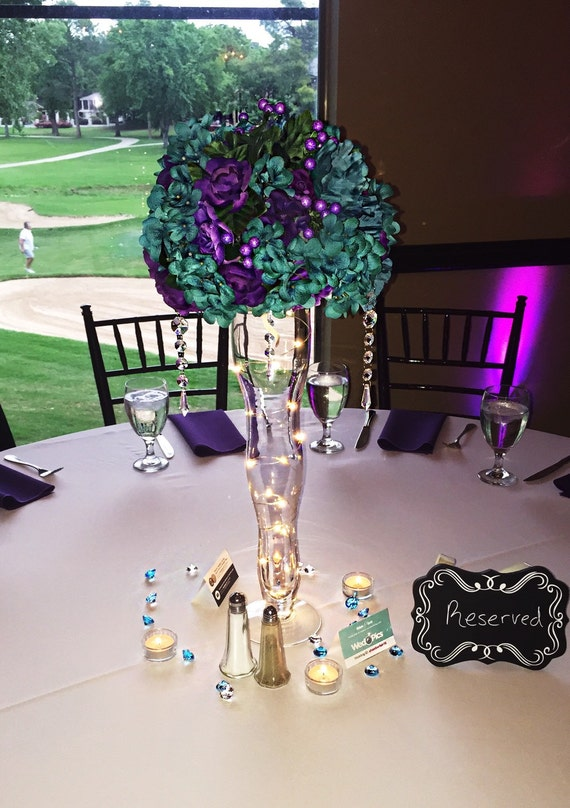 Items similar to Tall Purple/Turquoise Centerpieces with ...