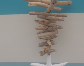Handmade Driftwood Mobile with White Starfish