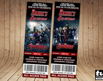 The Avengers Ticket Invitation - Get 2 designs