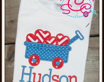 Personalized Valentines Heart Wagon Shirt