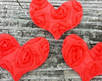 Set of 3 Red, Satin Puffy Hearts with adhesive stickers