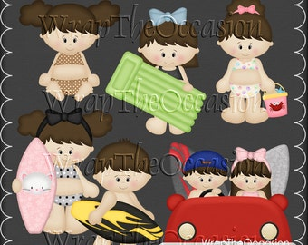 Summertime Fun Brunette Kids Set2 - CU Clipart