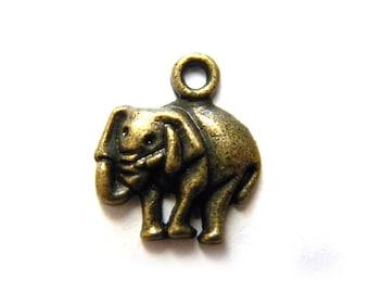 10 Bronze Elephant Charms