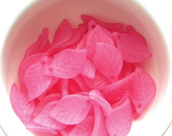 20 Rose Pink Lucite Leaf Charms