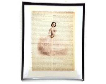 Ballerina 3 vintage art print encyclopedia old book pages image poster