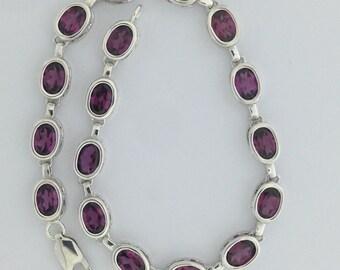 Natural Rhodolite Garnet Sterling Silver Bracelet
