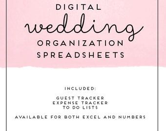Digital Wedding Organization Spreadsheets for Numbers or Excel