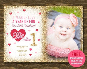 Sweetheart Birthday Invitation - Printable - FREE pennant banner and thank you card with purchase