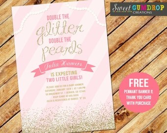 Twin Girls Baby Shower Invitation - Printable- Free Thank You and Pennant Banner Included