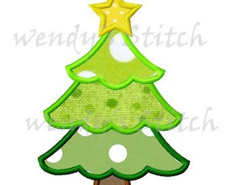 Christmas tree applique machine embroidery design instant download
