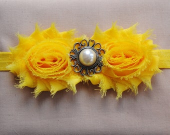 Yellow Headband Baby Girl Headband Shabby Flower Headband Newborn Baby Headband Yellow Hair Bow Shabby Chick Headband Shabby Rosette Yellow