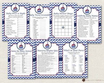 Nautical Baby Shower Games - Nautical Shower Games, Beach Baby Shower Games, Sailor Baby Shower Games, Sailboat Baby Shower - Printable, DIY