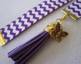 Purple Chevron Ribbon Bookmark w/Tassel and butterfly charm