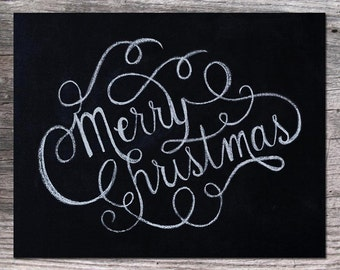 Merry Christmas Chalkboard Art 11x14 Printable Digital Download