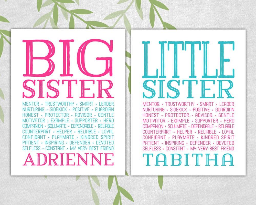 Big Sister Little Sister Wall Art Print Subway Art Pink