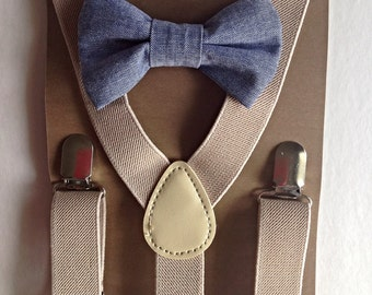 Boys beige suspender and matching bow tie set