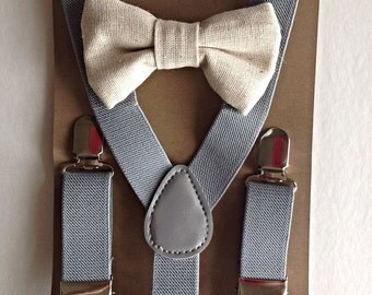 Little boys light grey suspender and bow tie set