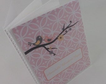 Girl Photo Album, Pink Bird, Personalized Baby Album, 5x7 or 4x7 picture book 314