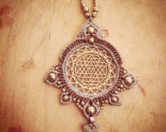Flower of life necklace with macrame Sri Yantra pendent made by order MAGICAL mandala TRIBAL bohemian art of goddess