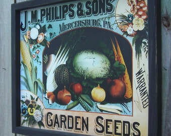 Wood Framed Reproduction Tin Sign, J.M. Phillips & Sons, Garden Seeds, Mercersburg, PA 17 1/4 by 13 1/2 inches., Free Shipping