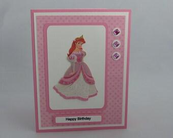 Handmade Greeting Card: Disney Princess Ariel Birthday Card, The Little Mermaid, Girl, Daughter, Granddaughter, Niece