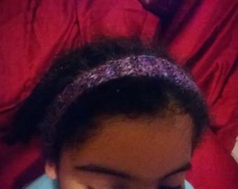 Purple multicolored knitted full headband.