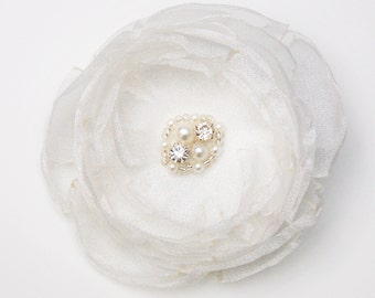 Ivory organza flower hair clip