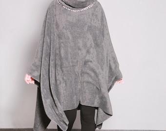 Gray Fleece Poncho, Hooded Cape, Plus Size Hoodie, Poncho Cape, Hooded Poncho, Gray Hooded Cloak, Fleece Cape
