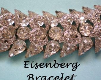 Signed Eisenberg Rhinestone Bracelet - 3655