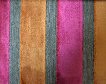 Modern Velvet Stripe Garnet Fabric