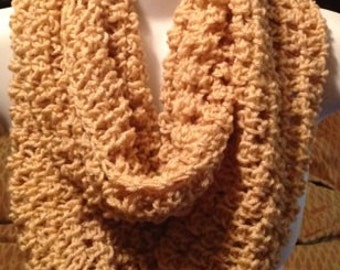 Crocheted scarf, Beige/tan crochet infinity scarf, womens scarves