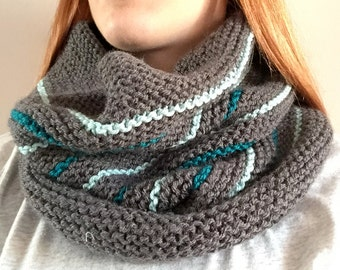 Teal Striped Knit Cowl