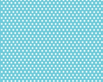 Aqua with white mini polka dots craft  vinyl sheet - HTV or Adhesive Vinyl -  polka dot pattern HTV2327
