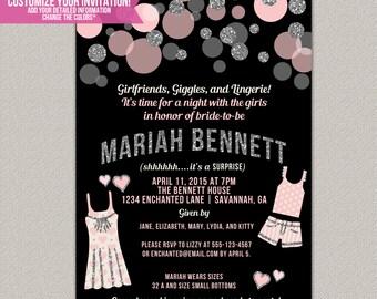 Pajama Party Lingerie Party Invitation - Custom Bridal Shower Invitation - DIGITAL -  DIY Printable Invitation