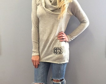 Monogrammed Cowl Neck Sweater in Oatmeal