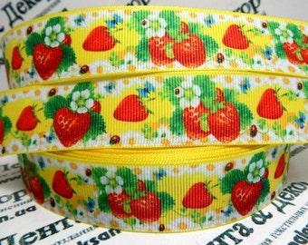 """2.3.4.5 yards Strawberry -camomile printed grosgrain Ribbon 1"""" ribbon  Hair bow ribbon"""