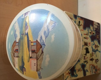 """Music Box Reuge & cie. Musical Powder Box """"Chapel with Matterhorn"""" painted - The Bue Danube  ***Christmas SALE***"""