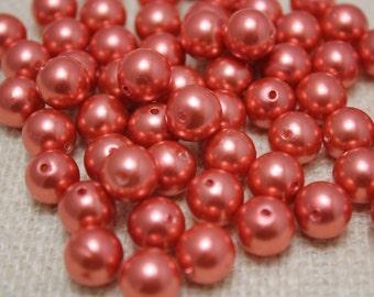 Vintage Bright Copper 8mm Pearls (31 Pieces)