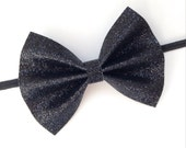 Black Glitter Bow - Black Sparkle Bow Hair Clip or Headband - Baby Girl Toddler Bow Headband