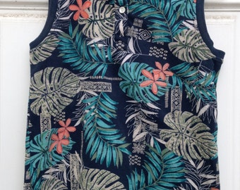 Nukumoi Surf Co. Hawaiian Print 1980's Sleeveless