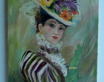 On SALE Was 65.00 ~ Vintage Oil Painting on Canvas ~ Victorian Lady ~
