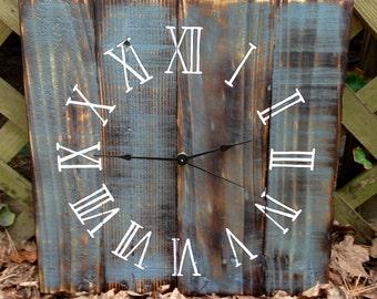 "Wood Clock,16x16"" Rustic, Distressed Reclaimed Wood Clock, Custom Order Color"
