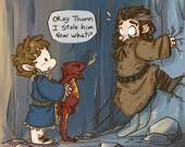 Bilbo Baggins, Chibi Smaug and Thorin Oakenshield - Fanart print - The Hobbit