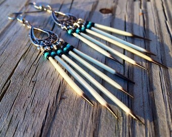 Porcupine Quill dangle earrings tribal